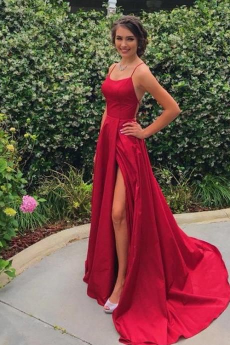 Simple Sweetheart Neckline Spaghetti Straps Red Long Prom Dresses with Slit