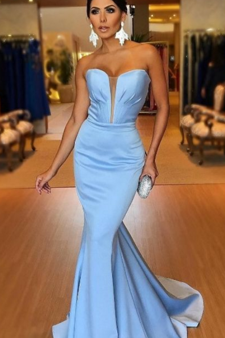 Light Blue Plunging Sweetheart Prom Dress Mermaid Formal Evening Gown Sweep Train