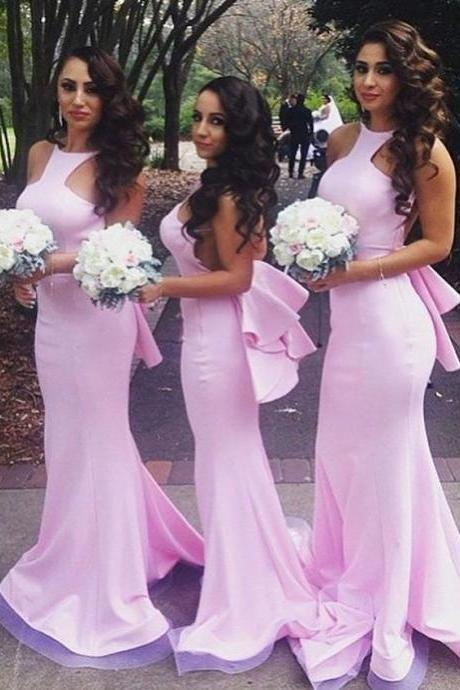 Mermaid Pink Sheath Satin Floor Length Bridesmaid Dress