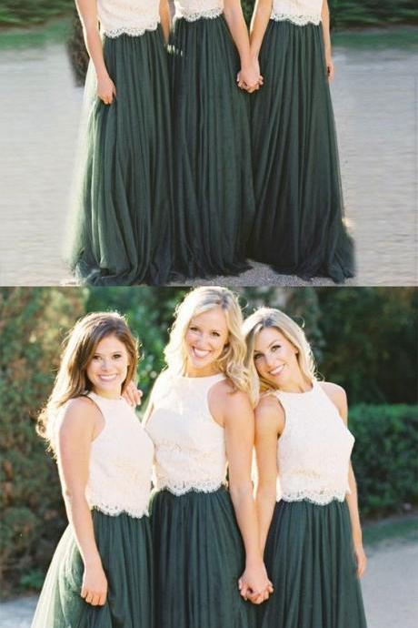 Dark Green Bridesmaid Dresses with white Lace 2018 Plus Size Women Party Gowns